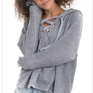 Wildfox Hutton Hooded Sweatshirt Burnout Gray